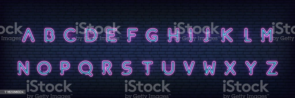 Neon alphabet font. Glowing neon colored 3d modern alphabet typeface.