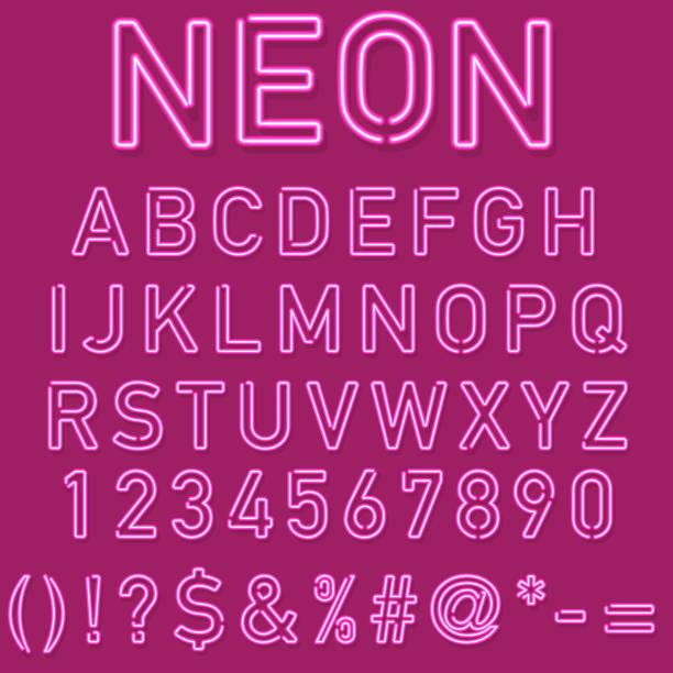 neonowy alfabet - neon stock illustrations