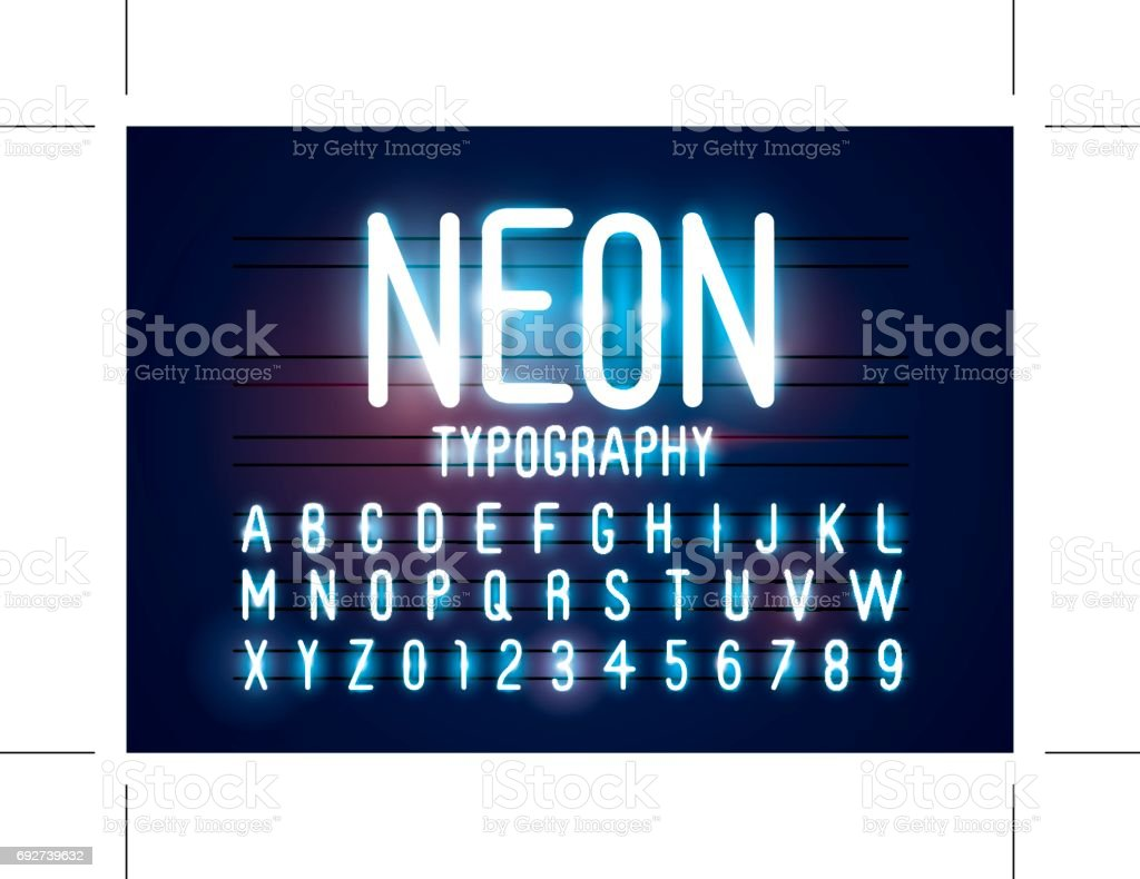 Neon alphabet vector art illustration