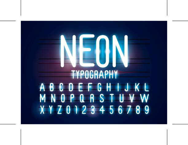 Neon alphabet Vector of abstract neon font and alphabet nightlife stock illustrations