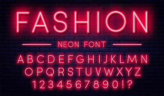 Neon alphabet with numbers. Red neon style font, fluorescent lamps on brick wall background