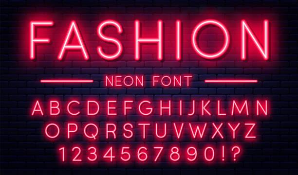 네온 알파벳 숫자입니다. 붉은 네온 스타일 글꼴, 벽돌 벽 바탕에 형광 램프 - 형광 stock illustrations