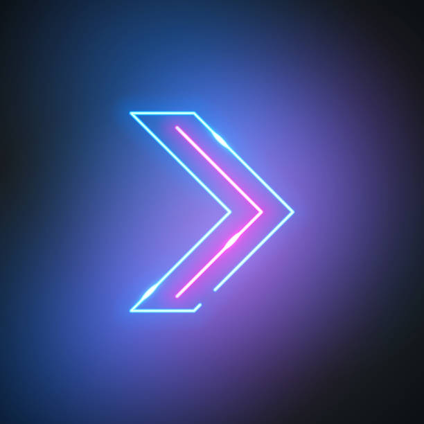 Neon arrow. Glowing pointer sign on black background. Colorful and bright retro light symbol. vector art illustration