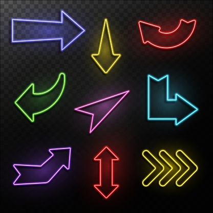 Neon arrows. Electric light direction arrow shapes. Casino, motel and cinema glowing street signs retro 1950s vector isolated set