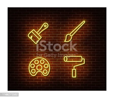 Neon artist signs vector isolated on brick wall. Paint light symbol, decoration effect. Neon illustration.