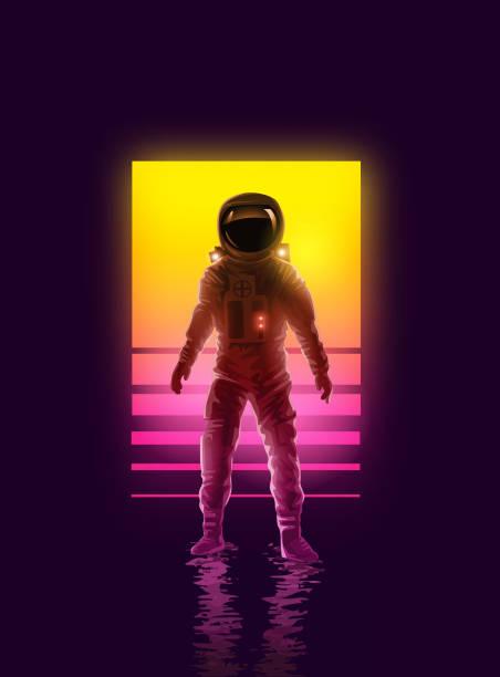 stockillustraties, clipart, cartoons en iconen met neon astronaut spaceman achtergrondontwerp - ruimte exploratie