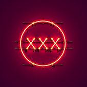 Neon banner xxx text.