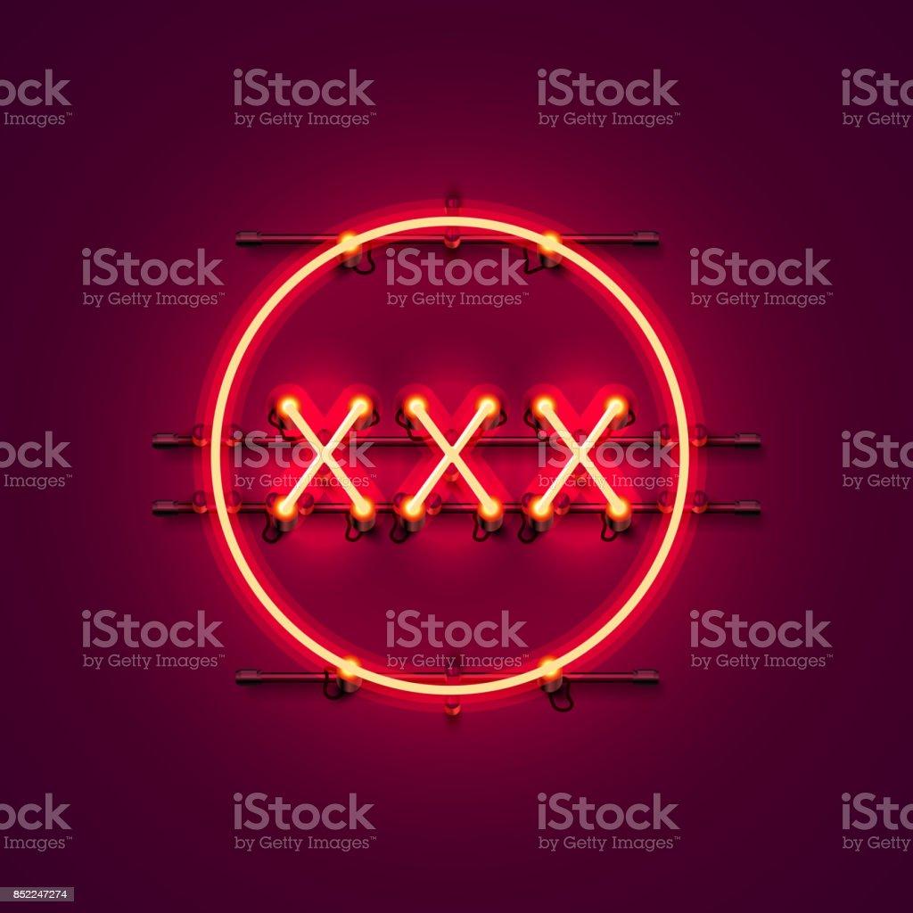 Neon banner xxx text. vector art illustration