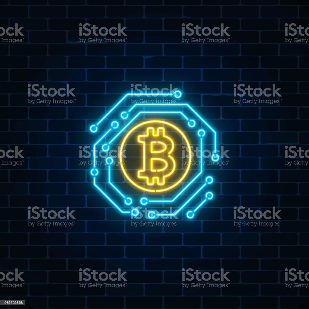 Bitcoin Währung Leuchtreklame Mit Elektronischen Schaltung ...