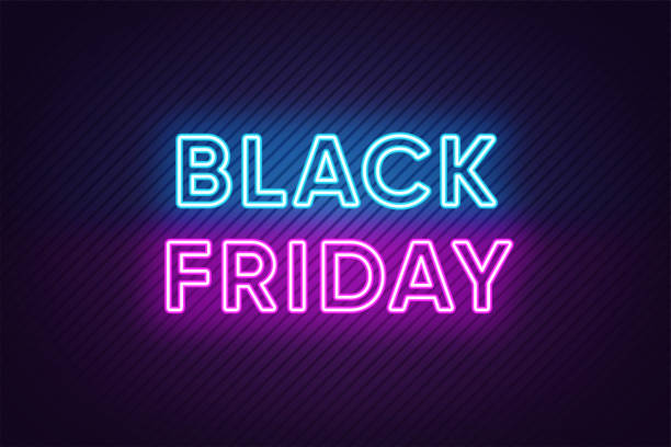 Neon Black Friday Banner. Text and Title of Black Friday Neon Black Friday Banner. Text and Title of Black Friday with Neon lights on the dark Background with Lined texture. Billboard, Poster and Cover design. Blue and Purple colors. Vector illustration black friday sale neon stock illustrations
