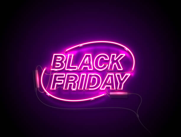 neon black friday ellipse pink Bright signage. Neon Black Friday signboard. Retro neon sign on dark background with text Black Friday. Ready for your design, banner, advertising, business. Vector illustration. black friday sale neon stock illustrations