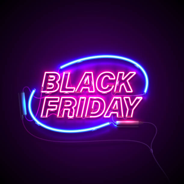 neon black friday ellipse Bright signage. Neon Black Friday signboard. Retro neon sign on dark background with text Black Friday. Ready for your design, banner, advertising, business. Vector illustration. black friday sale neon stock illustrations
