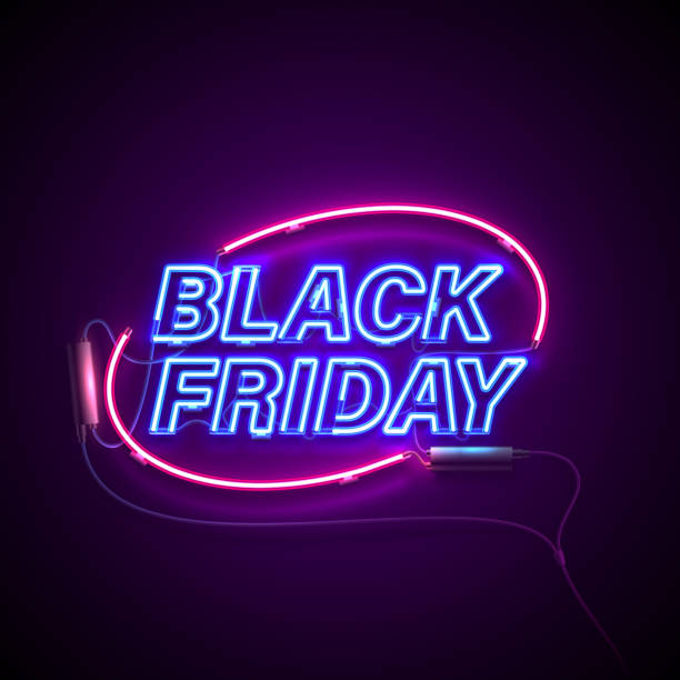 neon black friday ellipse2 Bright signage. Neon Black Friday signboard. Retro neon sign on dark background with text Black Friday. Ready for your design, banner, advertising, business. Vector illustration. black friday sale stock illustrations