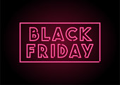 Neon Black friday tag On Black Wall