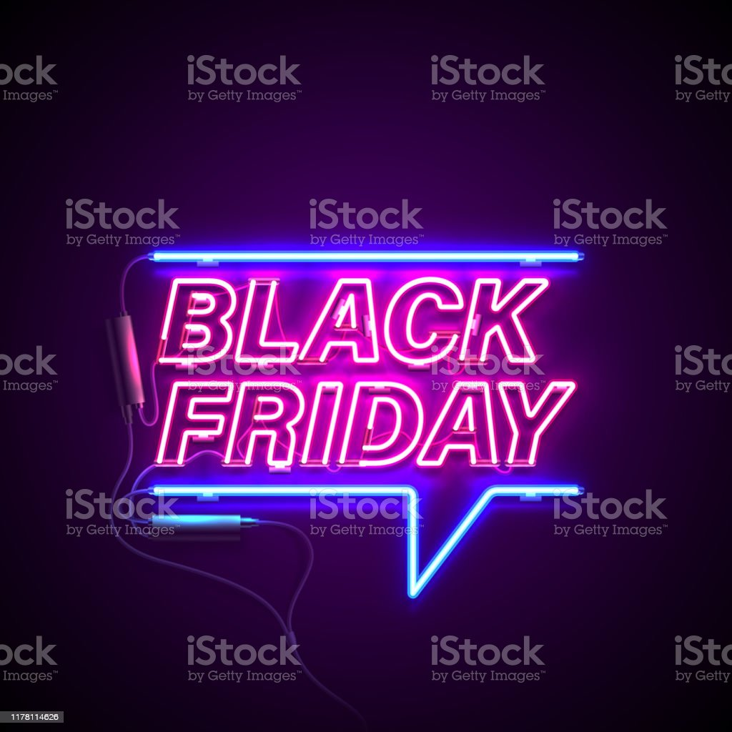 neon black friday Bright signage. Neon Black Friday signboard. Retro neon sign on dark background with text Black Friday. Ready for your design, banner, advertising, business. Vector illustration. Advertisement stock vector