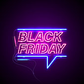 Bright signage. Neon Black Friday signboard. Retro neon sign on dark background with text Black Friday. Ready for your design, banner, advertising, business. Vector illustration.