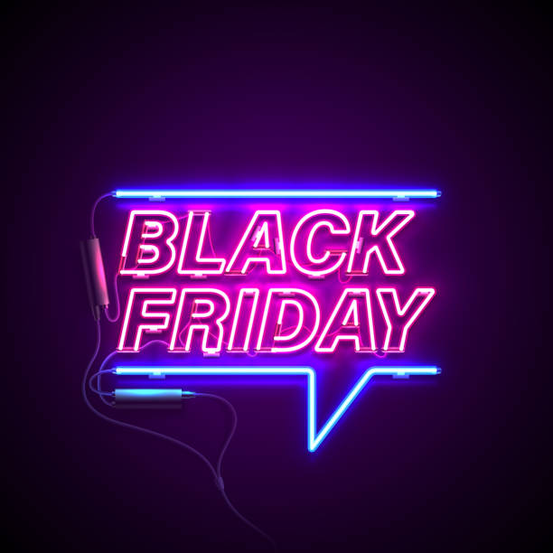 neon black friday Bright signage. Neon Black Friday signboard. Retro neon sign on dark background with text Black Friday. Ready for your design, banner, advertising, business. Vector illustration. black friday sale stock illustrations