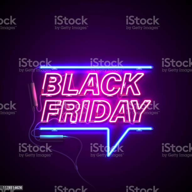 Neon Black Friday Stock Illustration - Download Image Now
