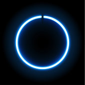 Neon blue circle lamp sign isolated on transparent background.  Vector illustration.