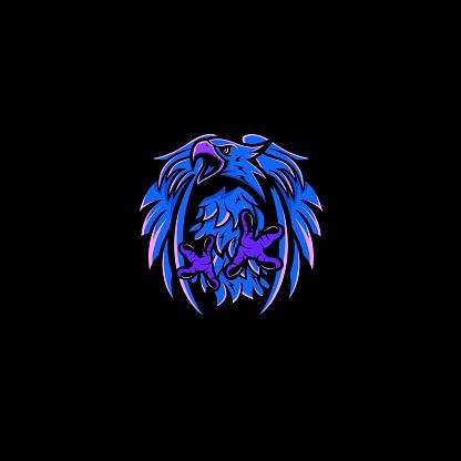Neon Blue Eagle Mascot