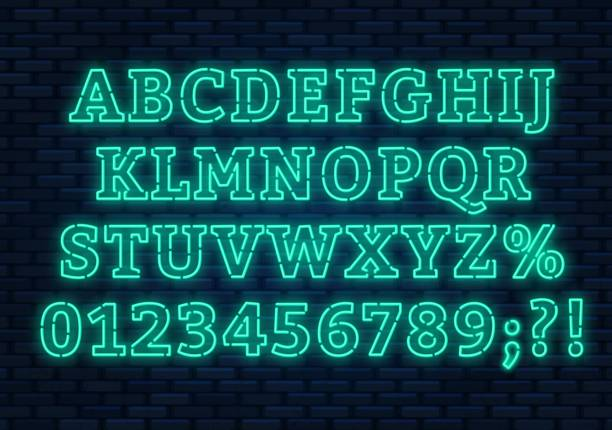 Fuente de neón azul. Brillantes Letras con números sobre un fondo oscuro. - ilustración de arte vectorial