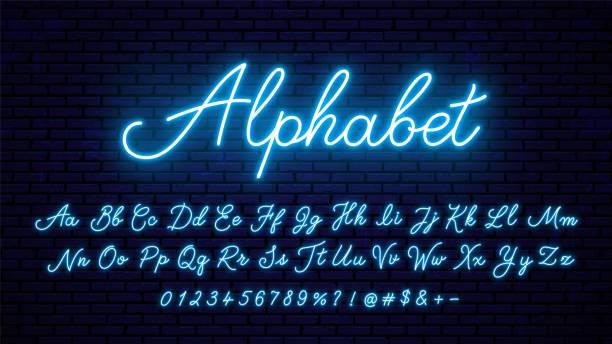 neonowe niebieskie litery. - neon stock illustrations