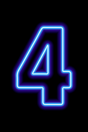 Neon blue number 4 on black background. Learning numbers, serial number, price, place