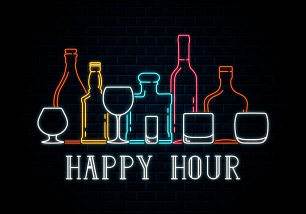 ilustrações, clipart, desenhos animados e ícones de garrafas de néon e copos de uísque, vinho, tequila, champanhe, conhaque, rum, bourbon. ícone para o fundo do pub da noite. sinal luminoso conduzido para a hora feliz do quadro indicador da barra de cocktail. - drink
