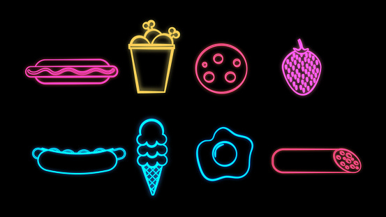 Neon bright glowing multicolored set of eight icons of delicious food and snack items for restaurant bar cafe: hot dog, chicken, salami, strawberry, ice cream, egg