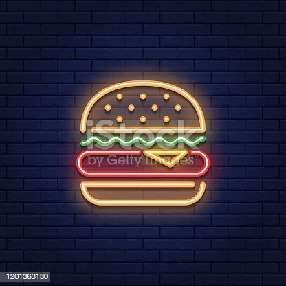 istock Neon Burger Food Icon Logo 1201363130