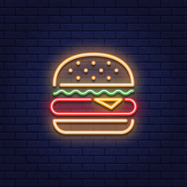 neon burger food icon logo - food delivery stock illustrations