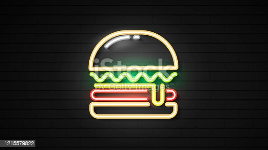 Neon Burger Sign Light Glowing With Hamburger Symbol Illustration