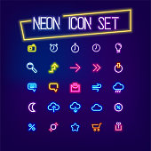 Neon business icon set sign