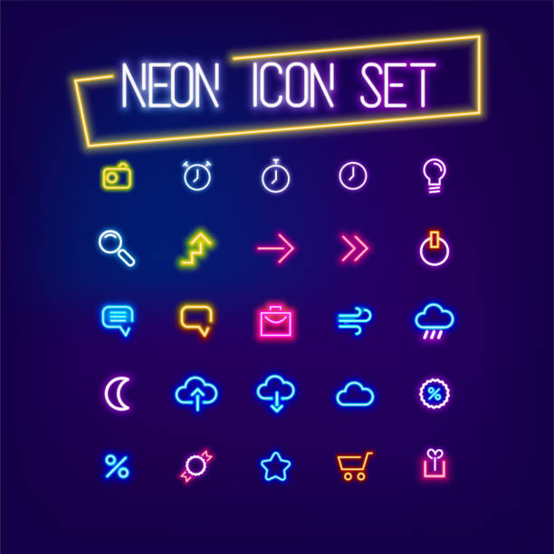 네온 비즈니스 아이콘 표시 설정 - 형광색의 stock illustrations