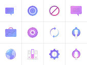 Neon business vector line icon set isolated on white background. Business line icon set for infographic, website or app.