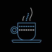 Neon, Neon Colored, Coffee - Drink, Time, Coffee Cup