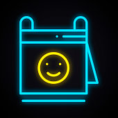 Neon calendar with smile sign. Glowing reminder. Dating, date theme.