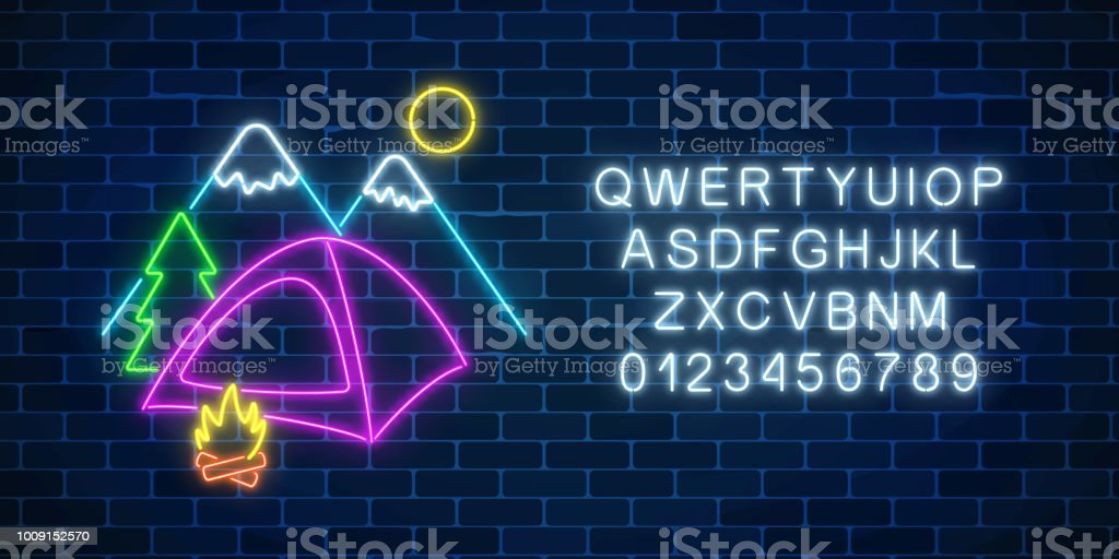 Neon camping sign with tent, bonfire, mountains, spruce and alphabet. Glowing web banner for summer camp, camping Neon camping sign with tent, bonfire, mountains, spruce and alphabet. Glowing web banner for summer camp, camping, nature tourism in neon style. Vector illustration Adventure stock vector