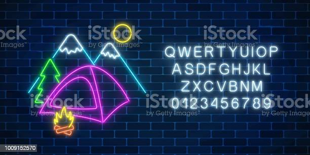 Neon Camping Sign With Tent Bonfire Mountains Spruce And Alphabet Glowing Web Banner For Summer Camp Camping Stock Illustration - Download Image Now