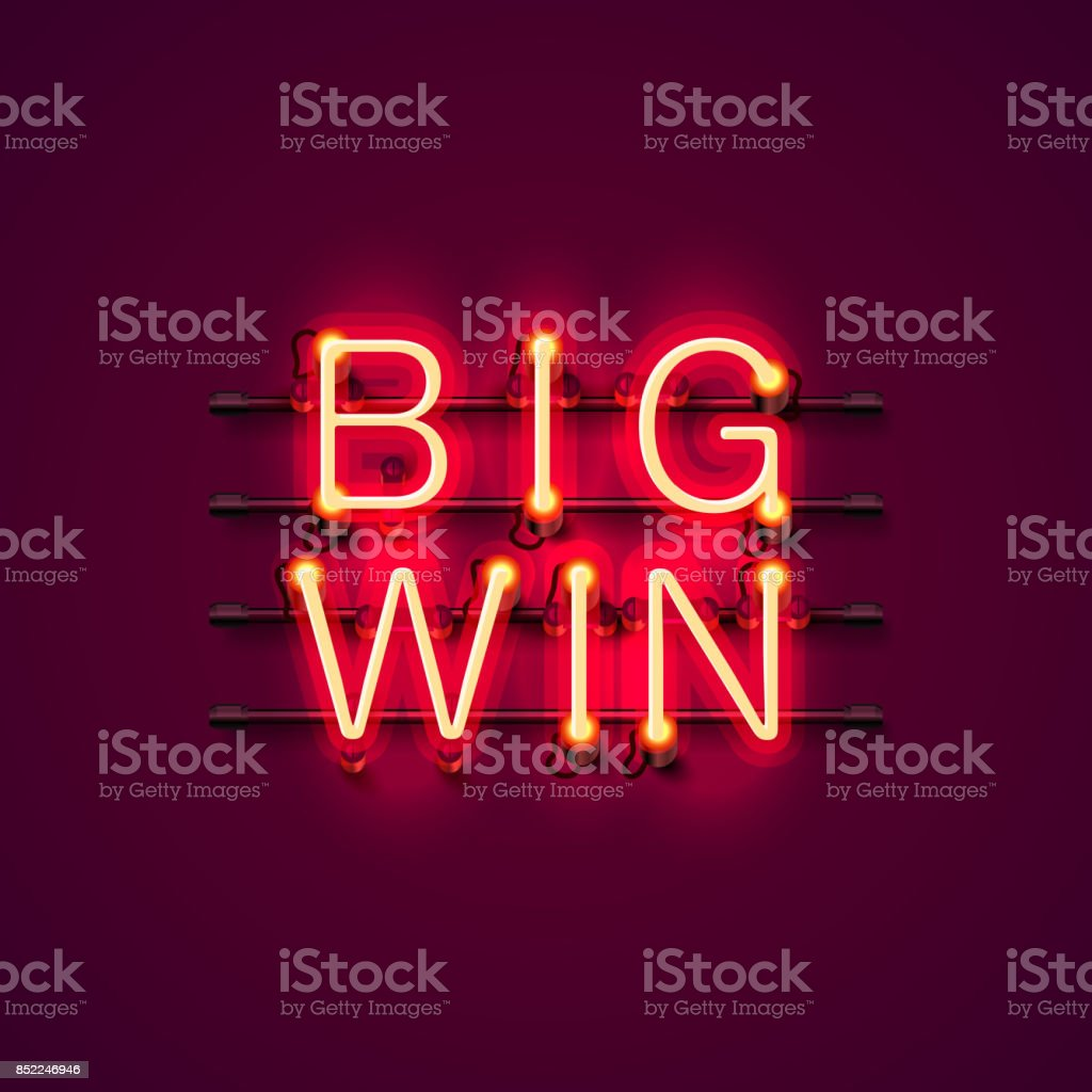 Neon casino big win signboard.