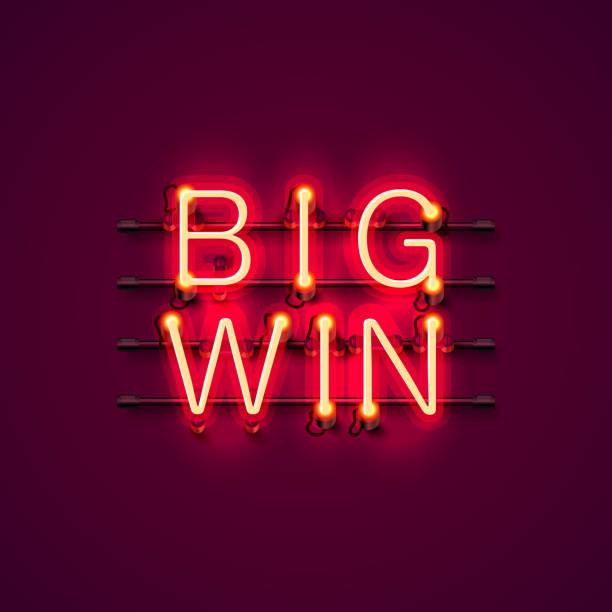 neon casino gewinn schild. - groß stock-grafiken, -clipart, -cartoons und -symbole