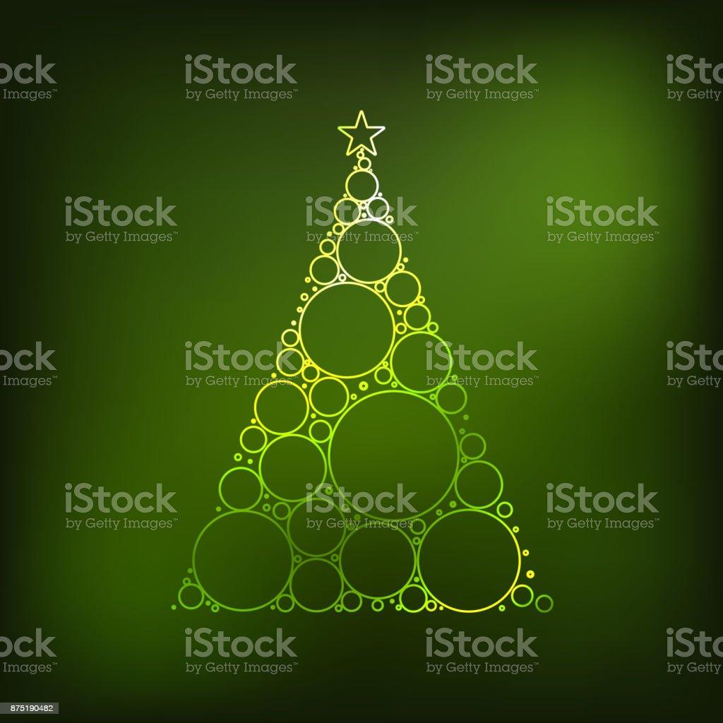 Neon christmas tree vector art illustration