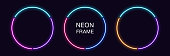 Neon circle Frame. Set of round neon Border in 3 outline parts. Geometric shape with copy space, futuristic graphic element for social media stories. Blue, pink, purple, violet. Fully Vector