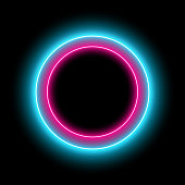 Neon circle with light effect on black background. Modern round frame with empty space for text for advertising, banner, card.