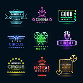 Neon circus and cinema or movie vector emblems