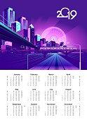 2019 neon city calendar