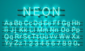 Neon city color lime green font. English alphabet.