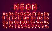 ネオン街赤色フォントです。英語のアルファベットの標識です。