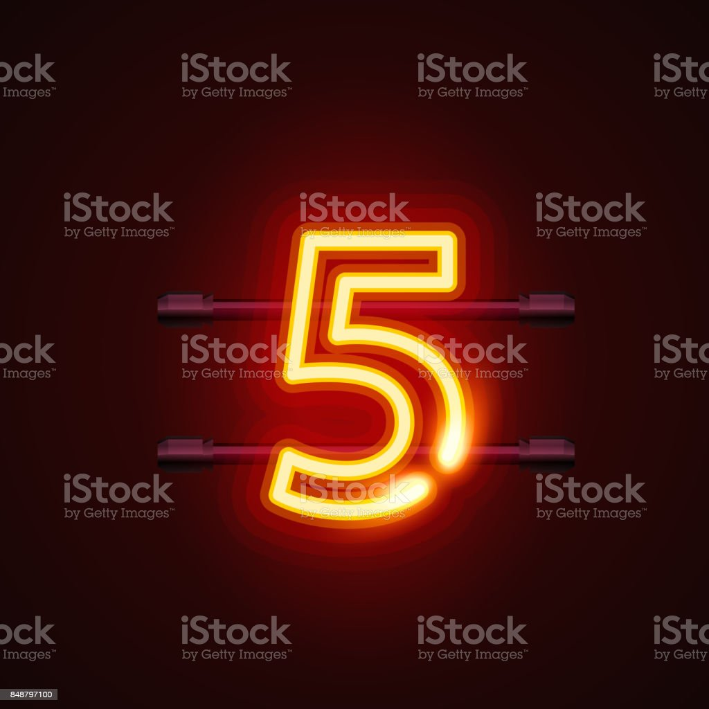 Neon city font sign number 5, signboard five. royalty-free neon city font sign number 5 signboard five stock illustration - download image now