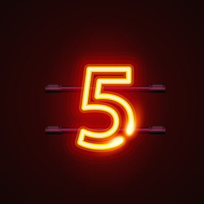 Neon City Font Sign Number 5 Signboard Five Stock Illustration - Download Image Now